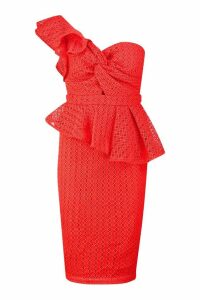 Womens Heavy Lace One Shoulder Peplum Midi Dress - red - S, Red