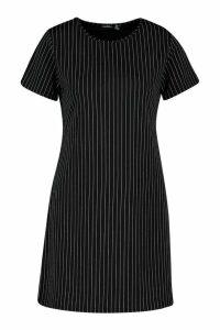 Womens Pinstripe Jersey Crew Neck Shift Dress - black - 14, Black