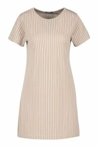 Womens Pinstripe Jersey Crew Neck Shift Dress - beige - 6, Beige