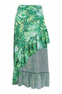 Womens Leopard Palm Mix Print Ruffle Hem Midaxi Skirt - green - 14, Green