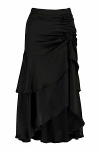 Womens Ruched Double Layer Midi Skirt - black - L, Black