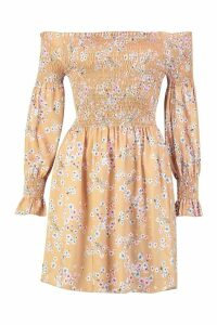 Womens Off The Shoulder Shirred Top Printed Skater Dress - yellow - 16, Yellow