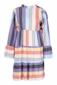 Womens Patchwork Smock Dress - purple - S, Purple