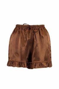 Womens Ruffle Hem Satin Shorts - brown - 12, Brown