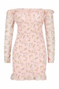 Womens Woven Floral Bardot Shirred Dress - Pink - 14, Pink