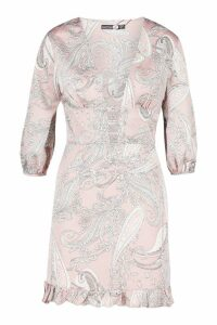 Womens Satin Paisley Ruffle Mini Dress - pink - 6, Pink