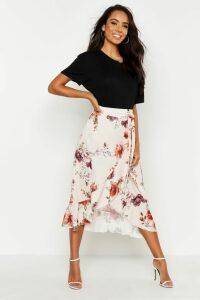 Womens Floral Wrap Ruffle Midi Skirt - beige - 8, Beige