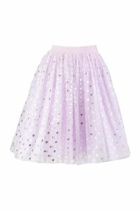 Womens Pastel Polka Dot Tulle Midi Skirt - purple - 12, Purple