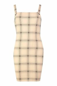 Womens Check Eyelet Pinafore Dress - beige - 8, Beige