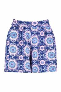 Womens Tile Print Flippy Short - purple - 10, Purple