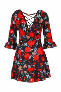 Womens Floral Lace Up Back Detail Frill Trim Skater Dress - black - 12, Black