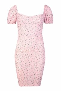 Womens Floral Corset Cup Puff Sleeve Bodycon Dress - Pink - 8, Pink