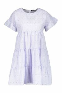 Womens Broderie Anglaise Smock Dress - purple - 14, Purple