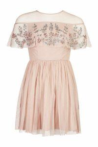 Womens Embellished Cape Skater Dress - pink - 10, Pink