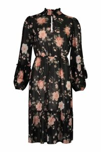 Womens Shirred Neck Keyhole Chiffon Midi Dress - black - 10, Black