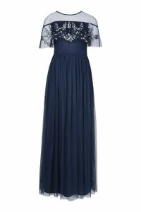 Womens Embellished Cape Skater Maxi Dress - navy - 14, Navy