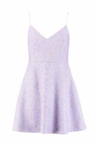 Womens Bonded Lace Scuba Skater Dress - purple - 16, Purple
