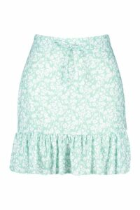 Womens Ditsy Floral Tiered Viscose Mini Skirt - green - 8, Green