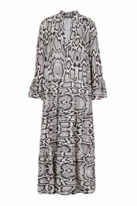 Womens Snake Print Maxi Smock Dress - black - M, Black