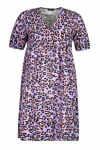 Womens Leopard Print Smock Dress - purple - 8, Purple