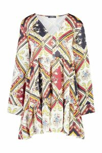 Womens Printed V Neck Tiered Smock Dress - multi - 14, Multi