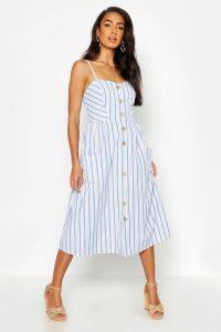 Womens Stripe Button Through Linen Midi Dress - blue - 8, Blue