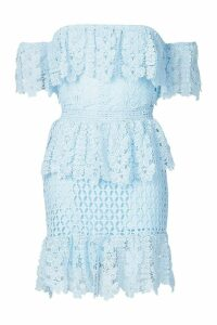 Womens Off The Shoulder Frill Lace Dress - blue - 8, Blue