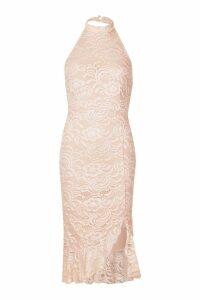 Womens Lace Halter Neck Frill Hem Bodycon Midi Dress - pink - 14, Pink