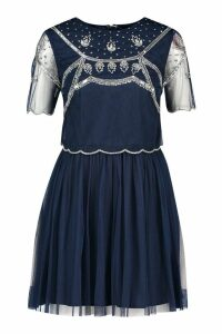 Womens Embellished Top Skater Dress - navy - 12, Navy