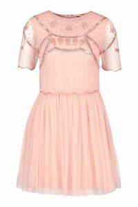 Womens Embellished Top Skater Dress - Pink - 12, Pink