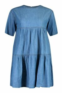 Womens Seam Detail Denim Smock Dress - blue - 16, Blue