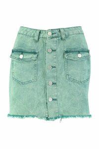 Womens Button Front Washed Denim Skirt - green - 16, Green