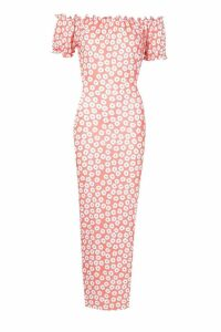 Womens Off The Shoulder Floral Maxi Dress - orange - 10, Orange