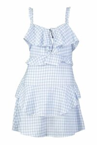 Womens Ruffle Detail Gingham Skater Dress - blue - 10, Blue