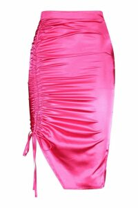 Womens Satin Ruched Wrap Midi Skirt - Pink - 18, Pink