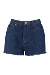 Womens High Rise Frayed Hem Mom Shorts - dark wash - 12, Dark Wash