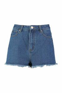 Womens High Rise Frayed Hem Mom Shorts - mid wash - 6, Mid Wash