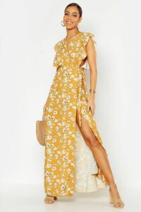 Womens Floral Woven Ruffle Sleeve Wrap Maxi Dress - yellow - 16, Yellow