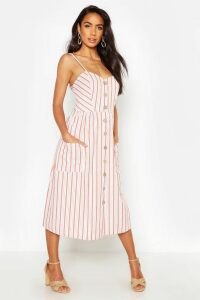 Womens Stripe Button Through Linen Midi Dress - orange - 6, Orange