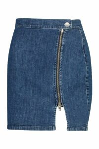Womens Zip Front Denim Mini Skirt - blue - 16, Blue