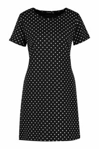 Womens Jersey Pinspot Crew Neck Shift Dress - black - 6, Black