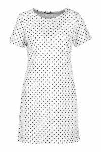 Womens Jersey Pinspot Crew Neck Shift Dress - white - 6, White