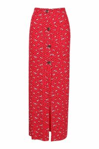 Womens Floral Ditsy Button Through Skirt - red - 14, Red