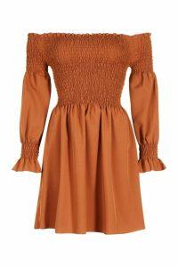 Womens Off The Shoulder Shirred Top Skater Dress - brown - 10, Brown