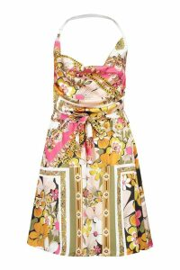 Womens Printed Cowl Front Skater Dress - Pink - 16, Pink