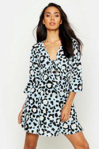 Womens Tie Front Leopard Tea Dress - blue - 16, Blue