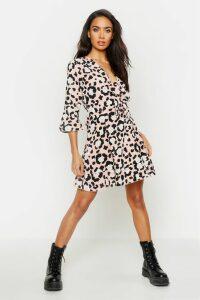 Womens Tie Front Leopard Tea Dress - Pink - 12, Pink