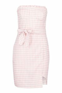 Womens Bandeau Cupped Gingham Mini Dress - Pink - 10, Pink