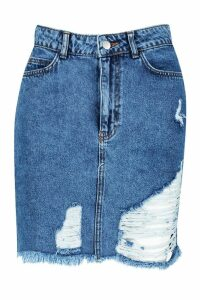 Womens Distressed Acid Washed Denim Mini Skirt - Blue - 14, Blue