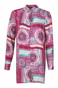 Womens Printed Shirt Dress - Pink - 10, Pink